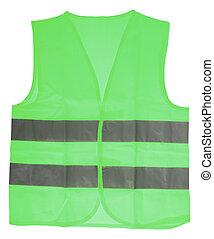 zielony, kamizelka, bezpieczeństwo