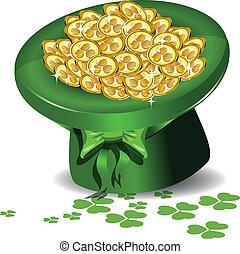 zielony kapelusz, pieniądze