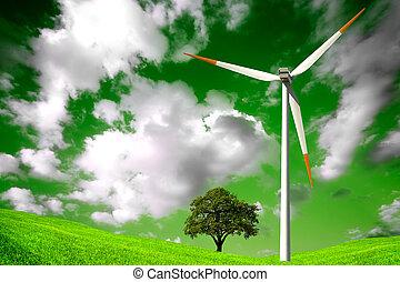 zielony, kasownik, środowisko