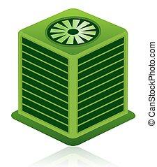zielony, klimatyzacja, jednostka, ikona