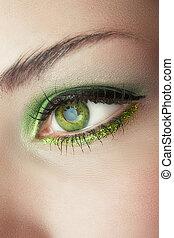 zielony, kobieta przypatrują się, charakteryzacja