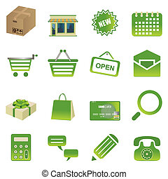 zielony, komplet, zakupy, ikony