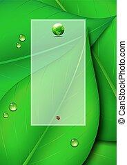 zielony, kopia, liść, tło, przestrzeń