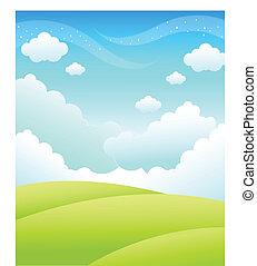 zielony krajobraz, i, niebo