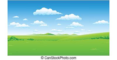 zielony krajobraz, z, błękitne niebo