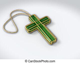 zielony, krucyfiks