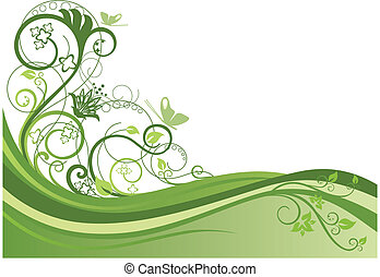 zielony, kwiatowy brzeg, projektować, 1