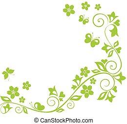 zielony, kwiatowy brzeg
