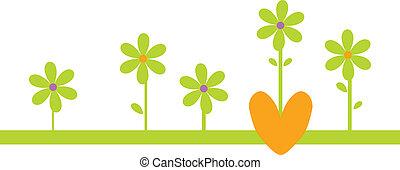 zielony, kwiaty