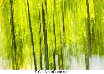 zielony las, abstrakcyjny, tło
