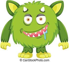 zielony, litera, potwór
