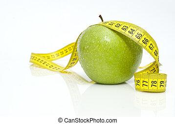 zielony, miarowy, jabłka, metr