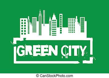 zielony, miasto, znak
