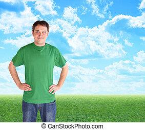 zielony, natura, obsadzać stanie, w, chmury, i, trawa