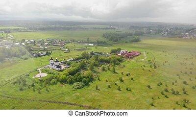 zielony, otwarty, pod, kościół, deszcz, wieś, pole