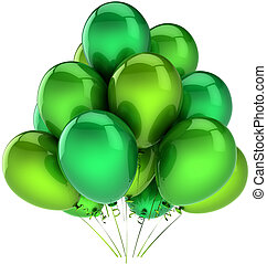 zielony, partia, balony, ozdoba