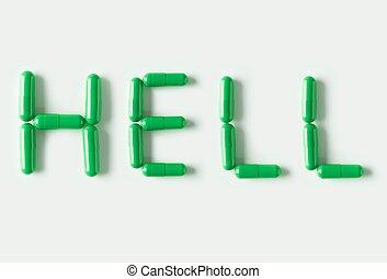 zielony, pigułki, torebki, w formie, od, słowo, hell., życie, pojęcie, isolated.