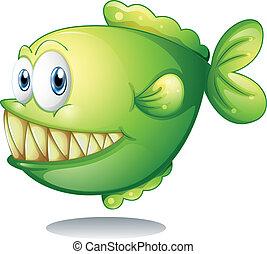 zielony, piranha