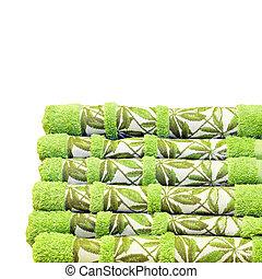 zielony, ręczniki