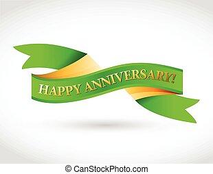 zielony, rocznica, wstążka, szczęśliwy