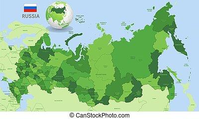 zielony, rosja, wektor, administracyjny, mapa