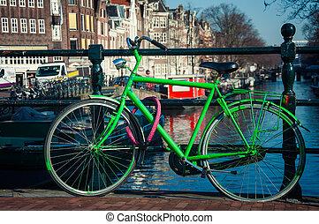 zielony, rower