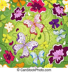 zielony, seamless, kwiatowy wzór