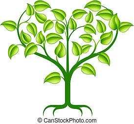 zielony, serce, drzewo, ilustracja