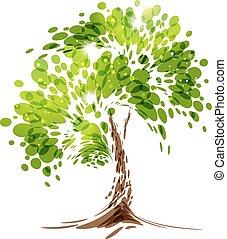 zielony, stylizowany, wektor, drzewo