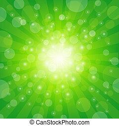 zielony, sunburst, tło