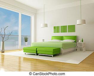 zielony, sypialnia