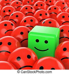 zielony sześcian, smiley, szczęśliwy