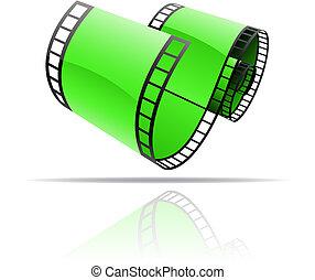 zielony, szpula, film