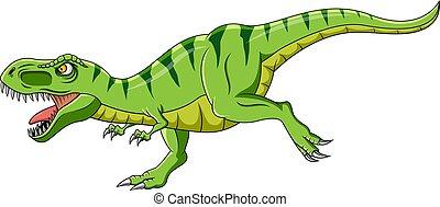 zielony, t-rex, rysunek, warczenie, dinozaur