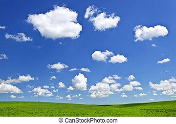 zielony, toczne górki, pod, błękitne niebo
