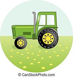 zielony, traktor