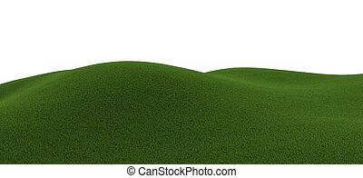 zielony, trawiasty, pagórek
