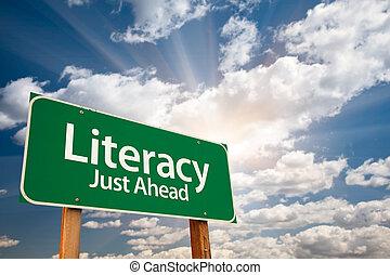 zielony, umiejętność czytania i pisania, chmury, droga znaczą