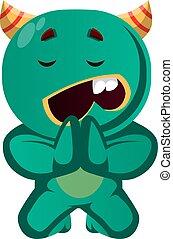zielony, wektor, żebranie, potwór, ilustracja