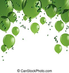 zielony, wektor, balony