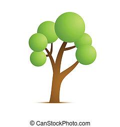 zielony, wektor, drzewo, ikona