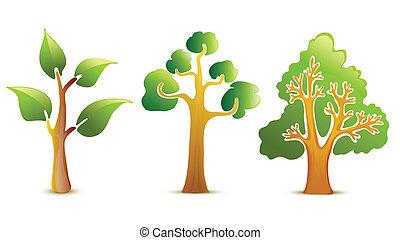 zielony, wektor, drzewo, ikony