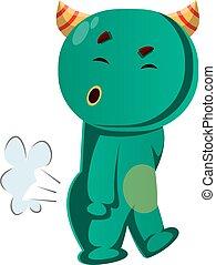 zielony, wektor, farting, potwór, ilustracja