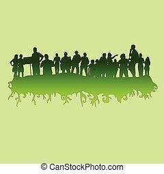 zielony, wektor, sylwetka, ilustracja, ludzie