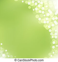 zielony, wektor, tło, z, bokeh
