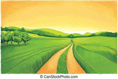zielony, wieś