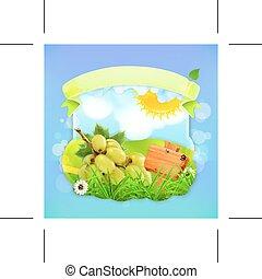 zielony, winogrona, projektować, etykieta