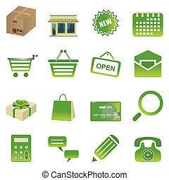 zielony, zakupy, ikony, komplet