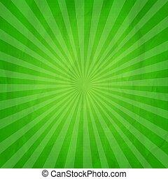 zielony, zmięty, sunburst, tło