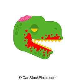 zielony, zombie, dino, ilustracja, wektor, dinosaur., monster.